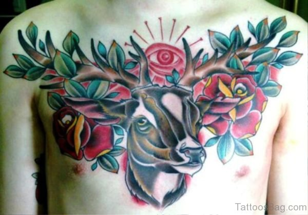 Buck With Roses Tattoo On Chest