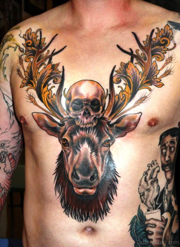Buck With Skull Tattoo On Chest