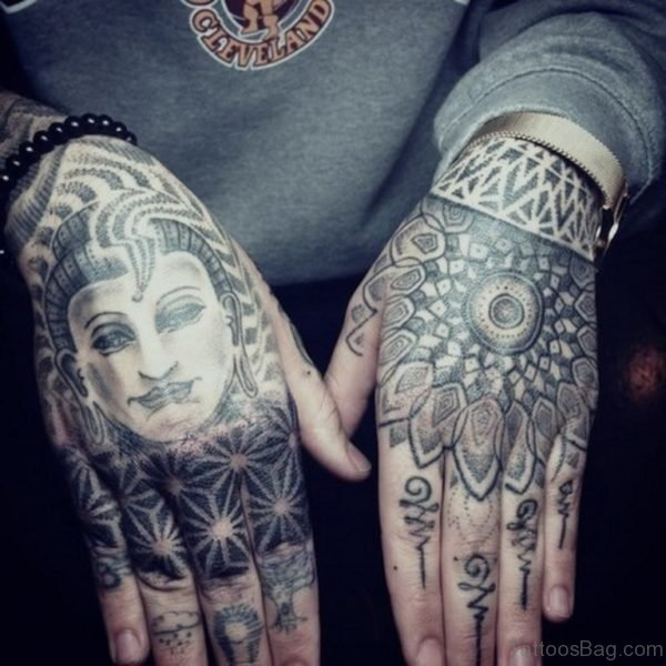 Buddha And Mandala Tattoo On Hand