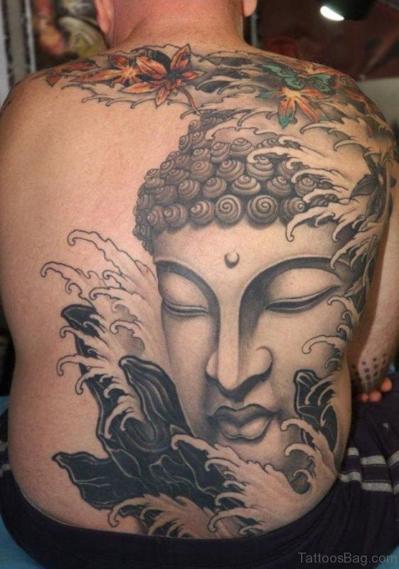 Buddha Face Tattoo Design On Back Body