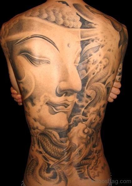 Buddha Face Tattoo On Back