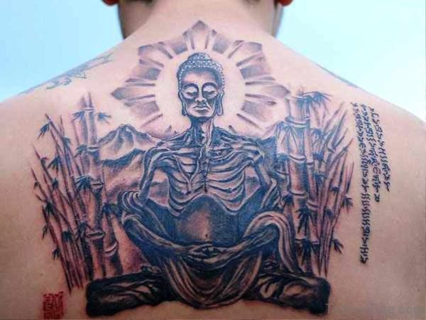 Buddha Skeleton Tattoo On Back