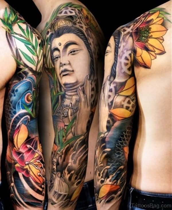 Buddha Tattoo On Full Sleeve