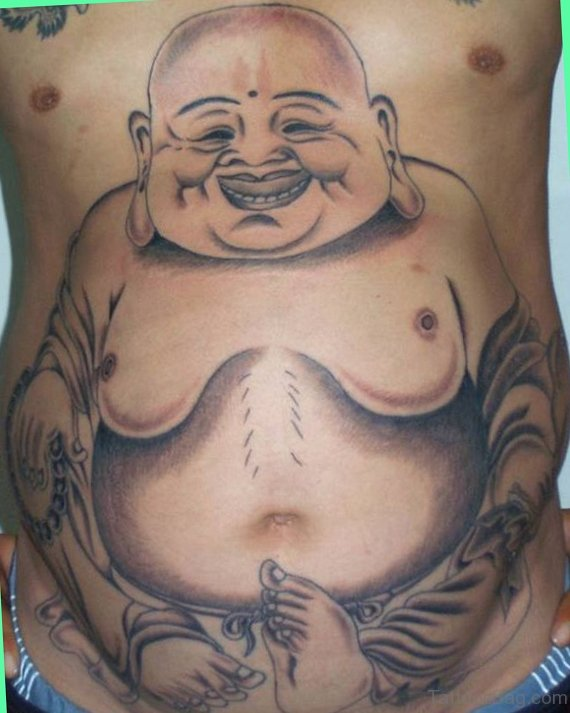 Buddha Tattoo On Stomach