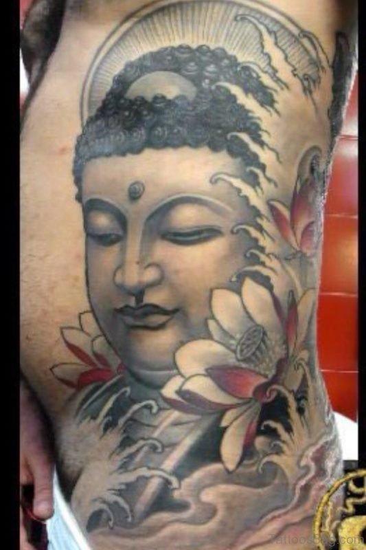 Buddhist Tattoo On Side Rib