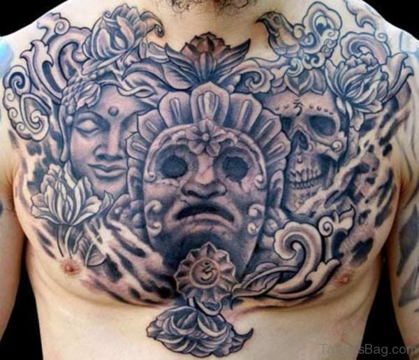 Buddish Chest Tattoo Design For Men
