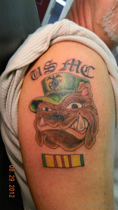 Bull Dog Tattoo Design On Shoulder