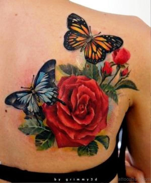 Butterflies With Rose Tattoo On Back Shoulder