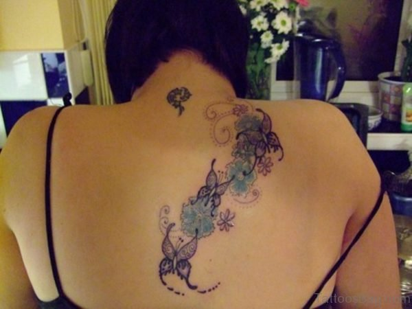 Butterflies and Flowers Tattoo for Girls
