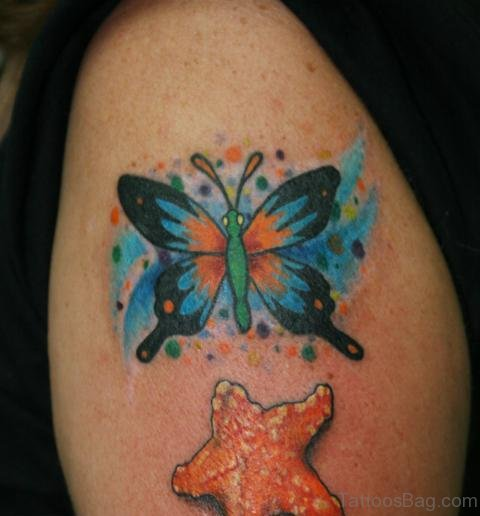 Butterfly And Starfish Tattoo On Shoulder