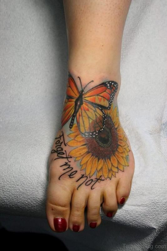 Butterfly And Sunflower Tattoo On Foot