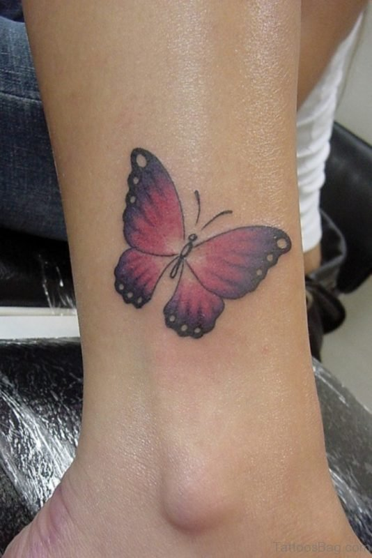 Butterfly Ankle Tattoo For Girls