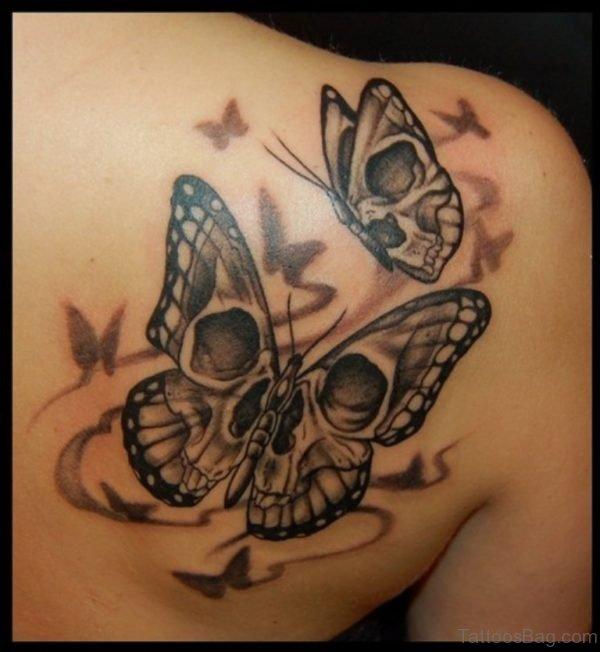 Butterfly Girl Skull Tattoo on Upper Back