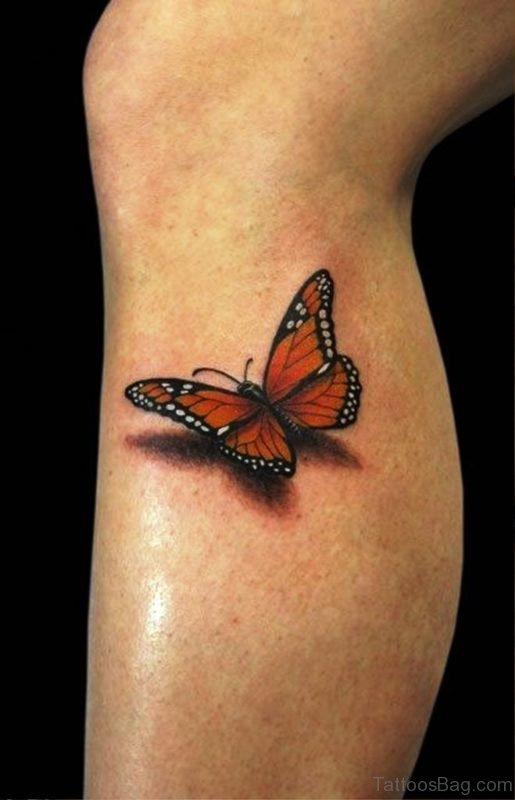 Butterfly Tattoo Design On Leg