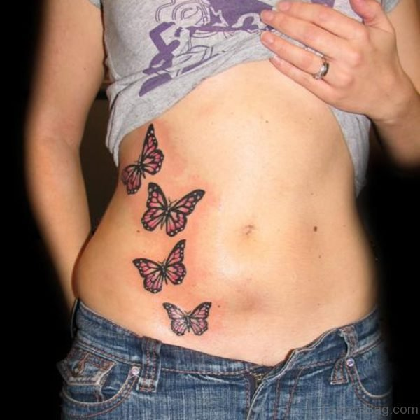 Butterfly Tattoo Design On Stomach