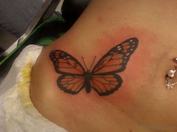 Butterfly Tattoo Design On Waist For Girls