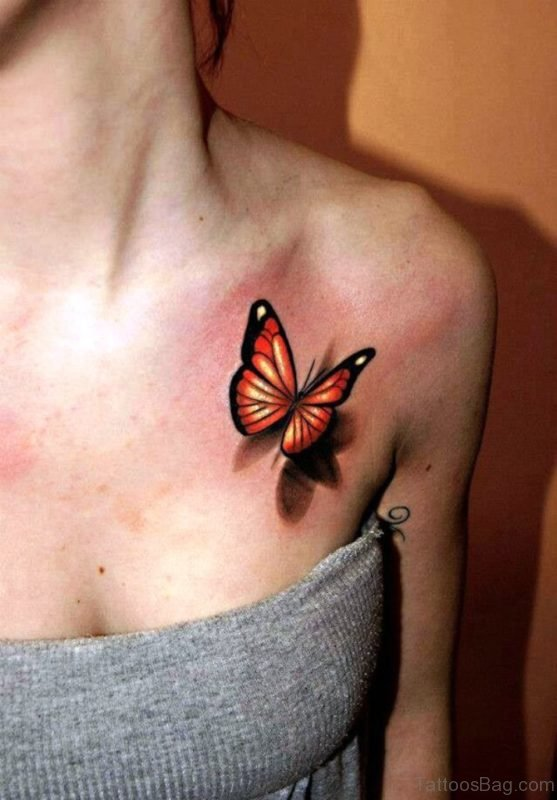Butterfly Tattoo On Chest
