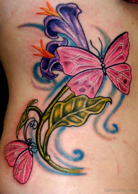 Butterfly Tattoo On Rib