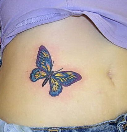 Butterfly Tattoo On Stomach
