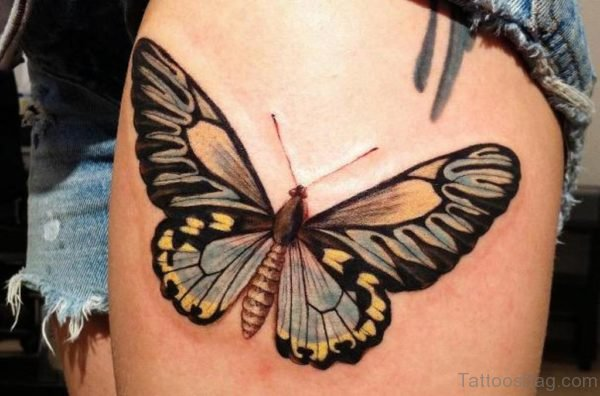 Butterfly Tattoo On Thigh