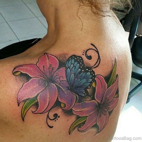 Butterfly Tattoo On Upper Back
