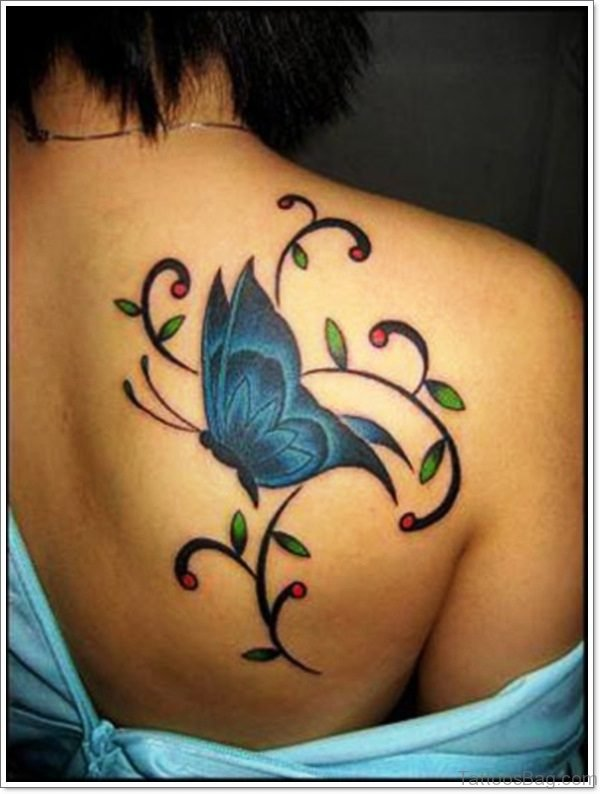 Butterfly Vine Tattoo On Back