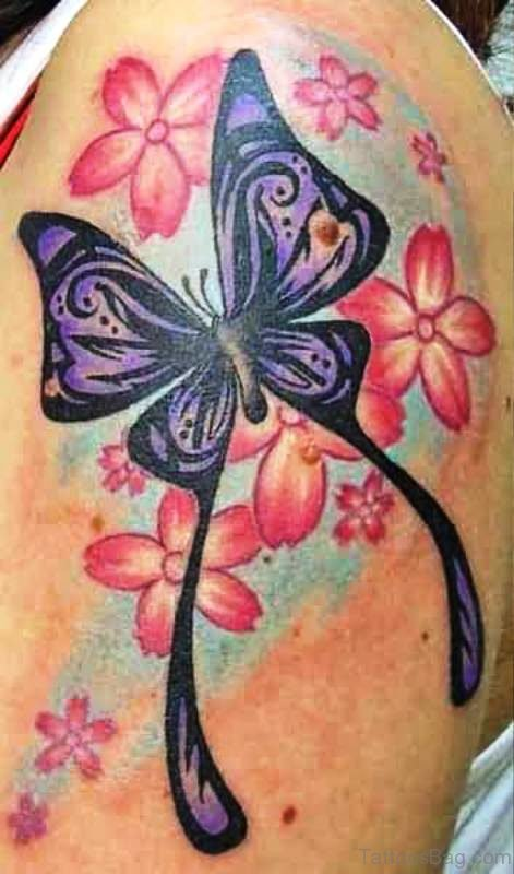 Butterfly With Pink Flowers Tattoo