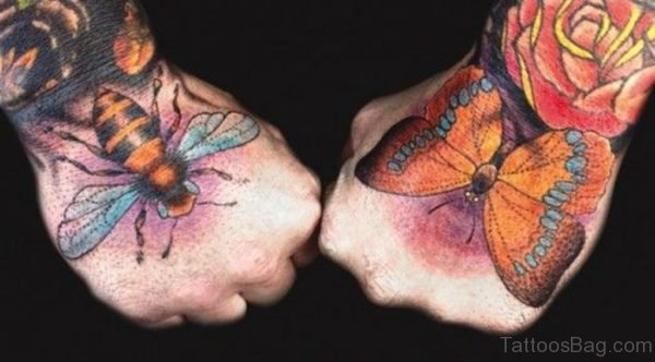 Butterfly and Bee Tattoo