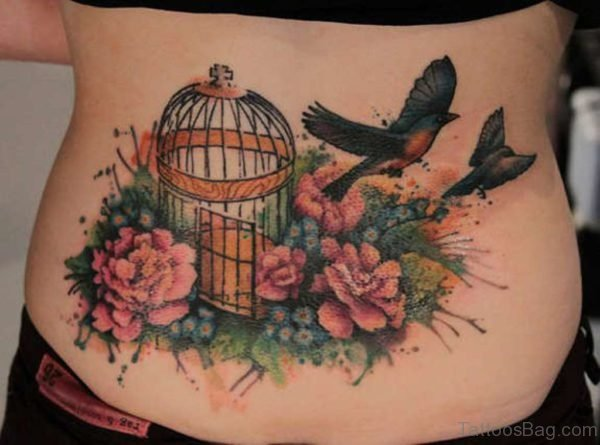 Cage And Flower Tattoo