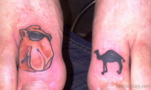 Camel Tattoos On Both Toes