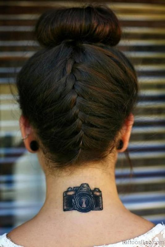 Camera Tattoo On Nape
