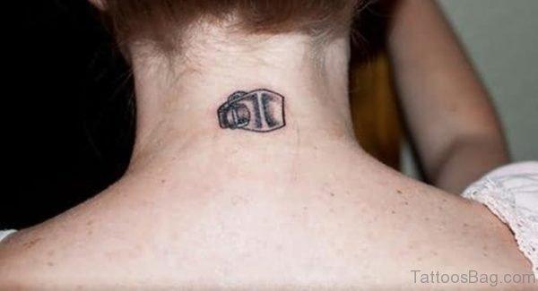 Camera Tattoo On Nape Image