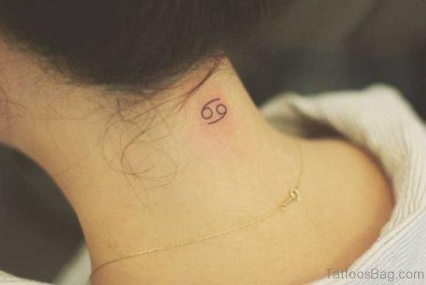 Cancer Zodiac Tattoo On Neck