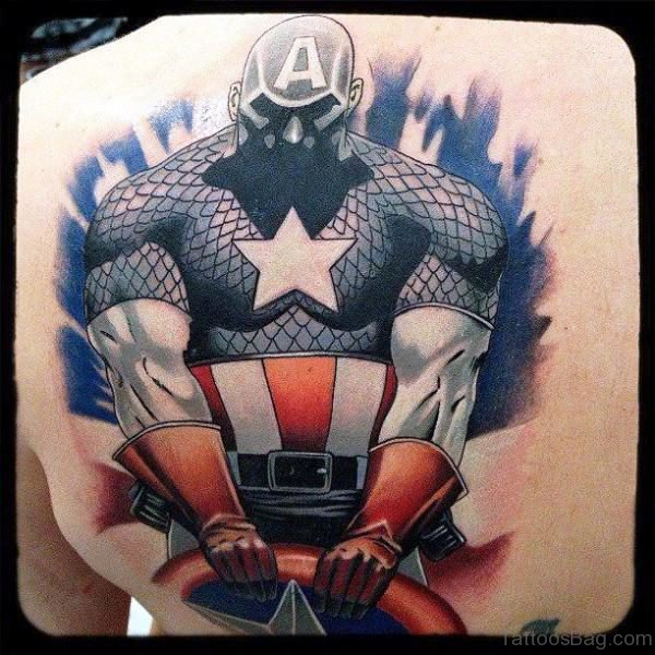 Captain America Tattoo On Back