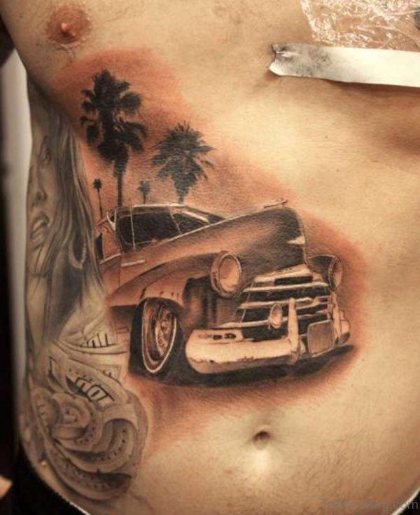 Car Tattoo Design On Rib