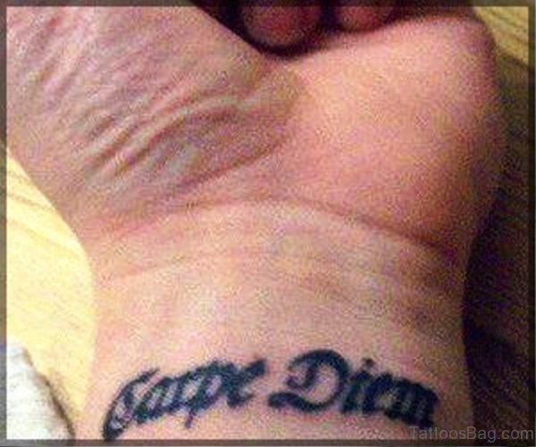 Carpe Diem Tattoo On Wrist Image