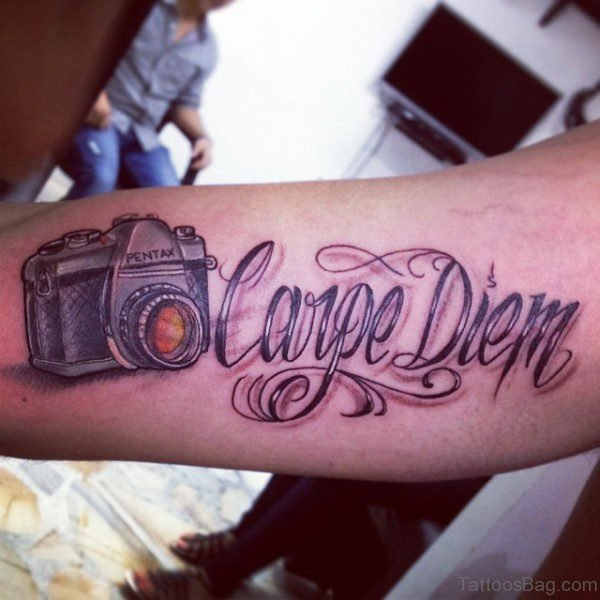 Carpe Diem Tattoo With Camera Design