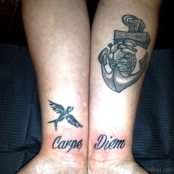 Carpe Diem Tattoo With Flying Bird