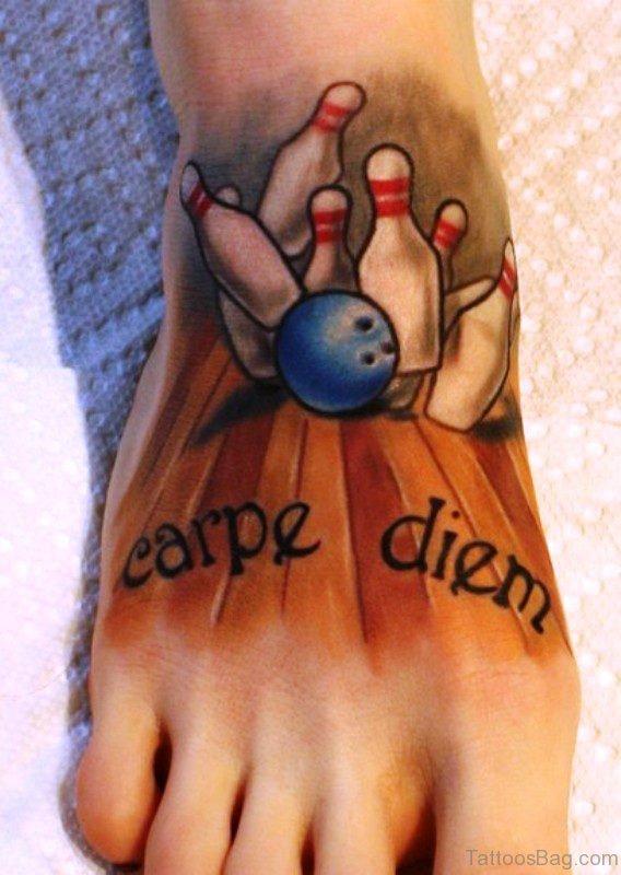 Carpe Diem With Bowling Tattoo Design
