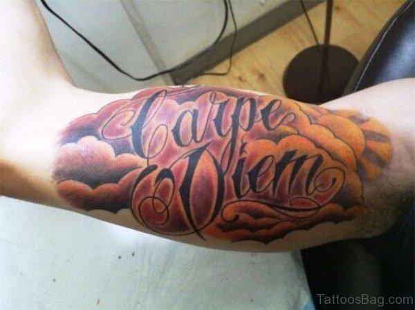 Carpe Diem With Clouds And Sun Tattoo