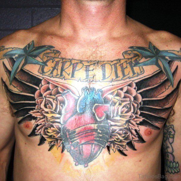 Carpe Diem With Heart Tattoo Design