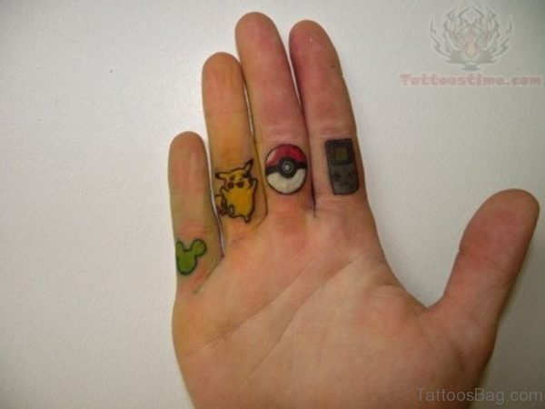 Cartoon Finger Tattoo