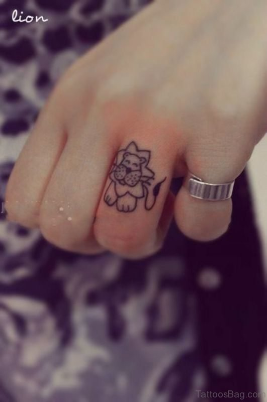 Cartoon Lion Tattoo On Finger