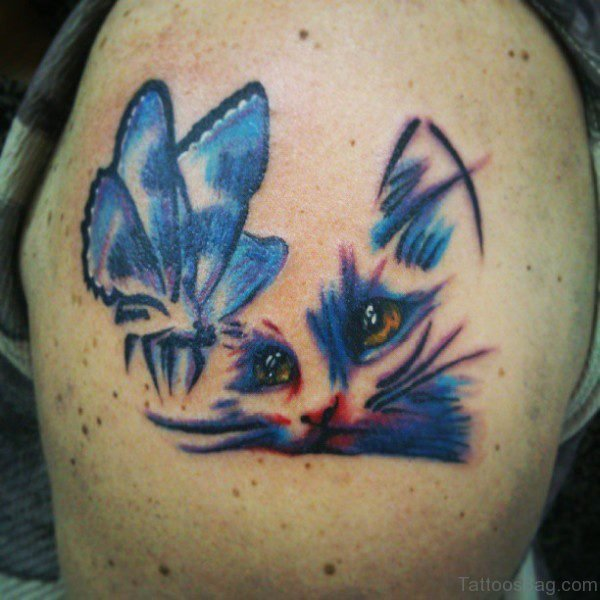 Cat And Butterfly Tattoo On Shoulder
