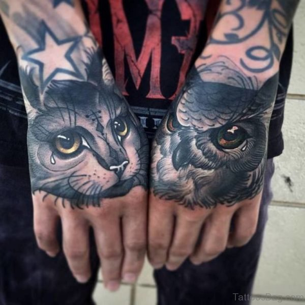 Cat And Owl Tattoo