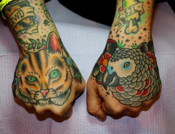 Cat And Parrot Tattoo