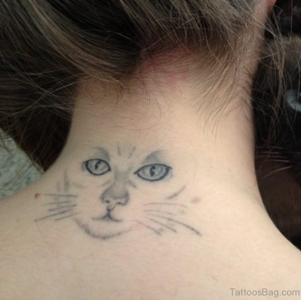 Cat Face Tattoo On Nape