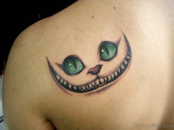 Cat Face Tattoo On Shoulder Back