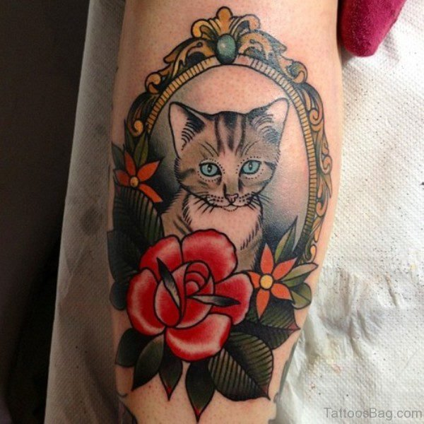 Cat Fram Thigh Tattoo