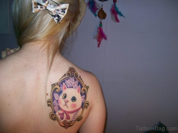 Cat In Mirror Tattoo On Shoulder